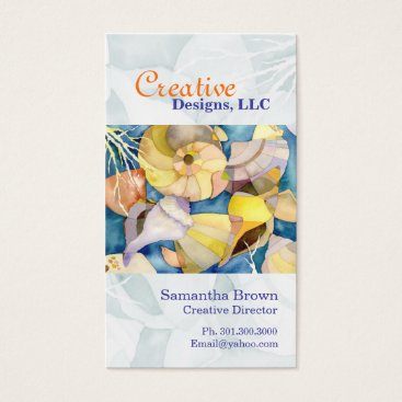 Professional Business Watercolor Sea Shells Designer Business Cards