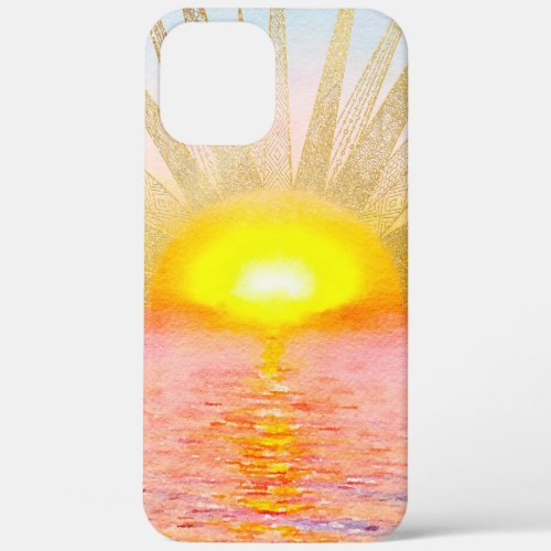 Watercolor Sea Sunset Gold Sun Doodles Mandala Phone Case