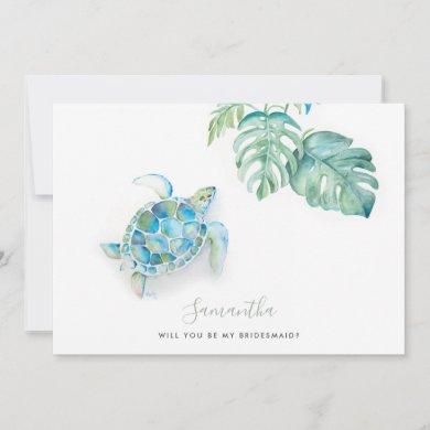 Watercolor Sea Turtle Bridesmaid Cards