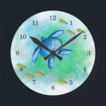 "Watercolor Sea Turtle Clock<br><div class=""desc"">This Watercolor Sea Turtle Wall Clock features my watercolor painting print. Makes a great gift idea for a Turtle lover!</div>"