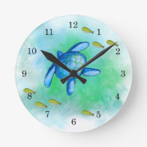 Watercolor Sea Turtle Clock