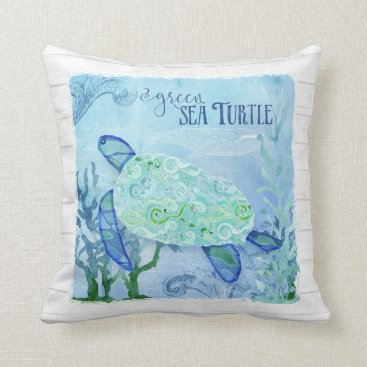 Beach Themed Watercolor Sea Turtle Coral Whale Beach Decor Art Throw Pillow
