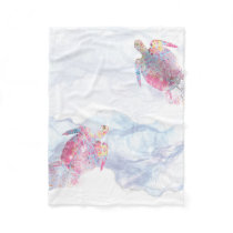 Watercolor Sea Turtle Fleece Blanket
