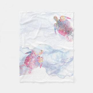 Watercolor Sea Turtle Fleece Blanket