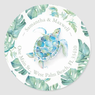 Watercolor Sea Turtle & Greenery Return Address Classic Round Sticker