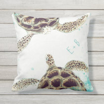 Watercolor Sea Turtle Love Designer Personalized Outdoor Pillow