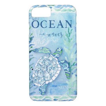 Beach Themed Watercolor Sea Turtle Ocean Modern Beach Triangle iPhone 8/7 Case