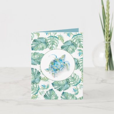 Watercolor Sea Turtle Palm Leaves Thank You Card
