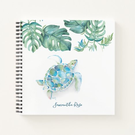 Watercolor Sea Turtle Personalized Journal