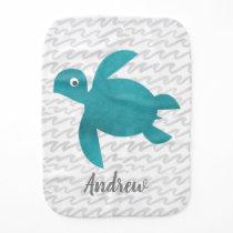 Watercolor Sea Turtle Shibori Wave Burp Cloth