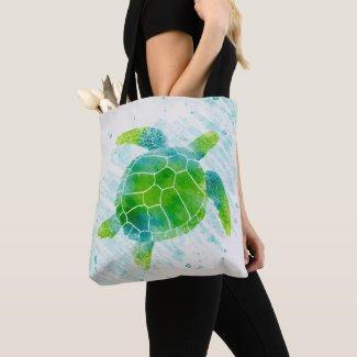 Watercolor Sea Turtle Tote