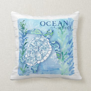 Beach Themed Watercolor Sea Turtle Triangle Pattern Shell Beach Throw Pillow