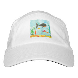 Watercolor Sea view with Whale and Seahorse Headsweats Hat