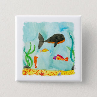 Watercolor Sea view with Whale and Seahorse Pinback Button