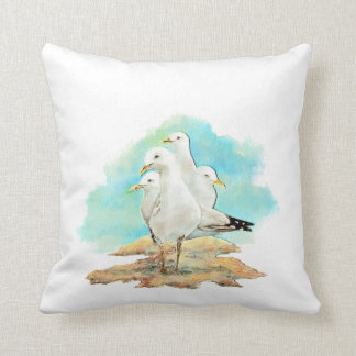 Watercolor Seagull Family Birds Pillow