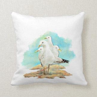 Watercolor Seagull Family Birds Pillows