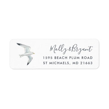 Beach Themed Watercolor Seagull Return Address Label