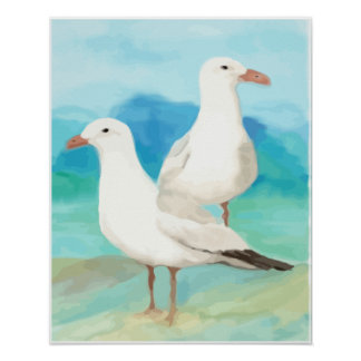 Watercolor Seagulls at the Beach Bird Nature Art Poster