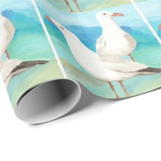 Watercolor Seagulls at the Beach Bird Nature Art Wrapping Paper