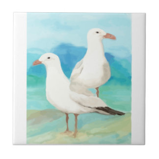 Watercolor Seagulls Gull Beach Bird Art Tile