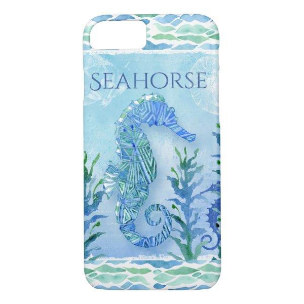 Watercolor Seahorse Ocean Beach Modern Geometric iPhone 7 Case