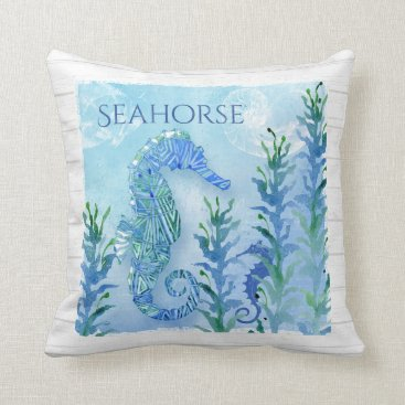 Beach Themed Watercolor Seahorse Vintage Nautilus Shell Ocean Throw Pillow