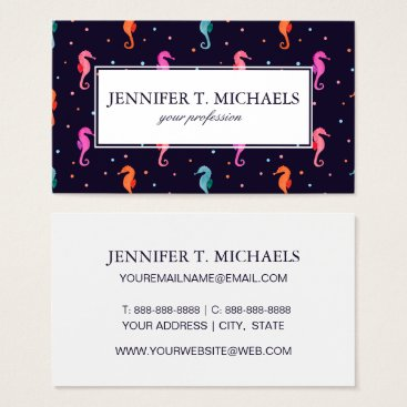 Beach Themed Watercolor Seahorses on Navy Blue Pattern Business Card