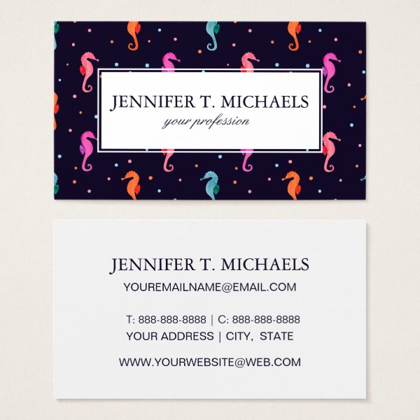 Watercolor Seahorses on Navy Blue Pattern Business Card