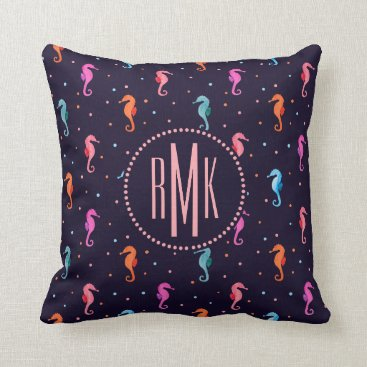 Beach Themed Watercolor Seahorses on Navy Blue Pattern Throw Pillow