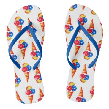 Beach Themed Watercolor seamless pattern with ice-cream cone flip flops
