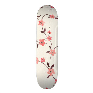 Watercolor seamless pattern with styled spring skateboard deck