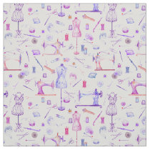 Watercolor Seamstress Sewing Notions Pattern Fabric