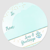 Watercolor Seas & Greetings Anchor & Stars Classic Round Sticker