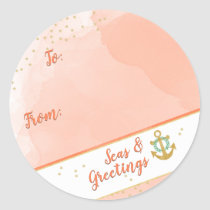 Watercolor Seas & Greetings Anchor & Stars Coral Classic Round Sticker