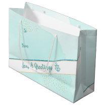 Watercolor Seas & Greetings Anchor & Stars Large Gift Bag
