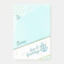 Watercolor Seas & Greetings Anchor & Stars Post-it Notes