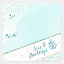 Watercolor Seas & Greetings Anchor & Stars Square Sticker