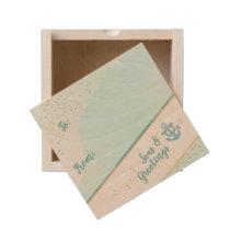 Watercolor Seas & Greetings Anchor & Stars Wooden Keepsake Box