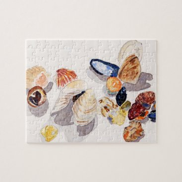 Beach Themed Watercolor Seashell Puzzle