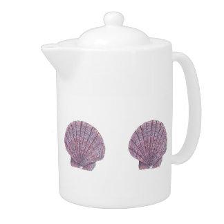 Watercolor Seashell Teapot