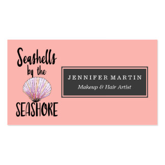 Watercolor Seashells by the Seashore Typography Business Card