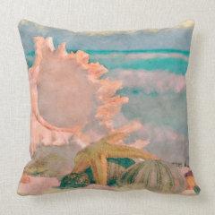 Watercolor Seashells on Beach Pillow