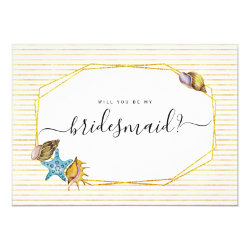 Watercolor seashells will you be my bridesmaid card