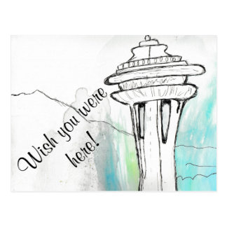 Watercolor Seattle Space Needle Postcard