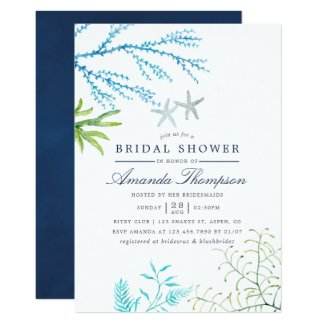 Watercolor Seaweed Beach Themed Bridal Shower Invitation