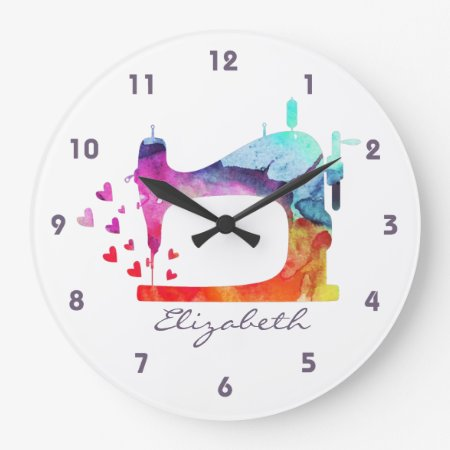 Watercolor Sewing Machine Wall Clock