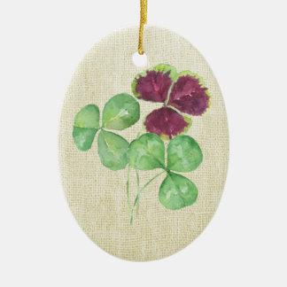 Watercolor Shamrock Clover Saint Partick's Day Ceramic Ornament