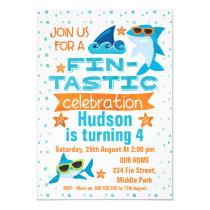Watercolor Shark  Fin-tastic Birthday Invitation