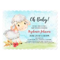 Watercolor Sheep Baby Shower Farm Invitation