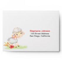 Watercolor Sheep Farm Envelope
